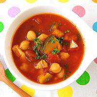 かぼちゃと豆のトマトスープの写真