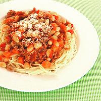 豆たっぷりミートスパゲティーの写真