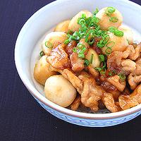 里芋と豚肉の甘辛炒めの写真